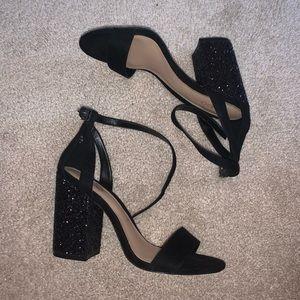 Black chunky and glitter heels